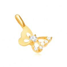 Šperky eshop - Prívesok v žltom 9K zlate - vyrezávaný motýľ, zirkónové krídlo GG31.24