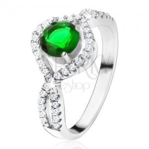Strieborný 925 prsteň, okrúhly zelený kameň, zatočené zirkónové ramená
