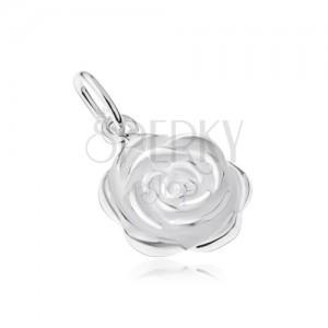 Strieborný 925 prívesok, rozkvitnutý kvet ruže