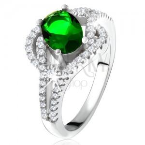 Prsteň - striebro 925, zaoblené línie, číre kamienky, oválny zelený zirkón