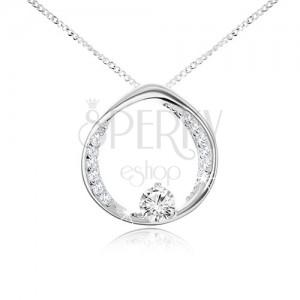 Náhrdelník - retiazka a kruh s okrúhlym čírym zirkónom, striebro 925