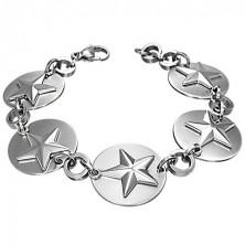 Náramok z ocele - hviezdy na kruhoch