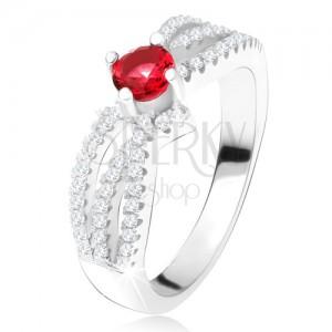 Prsteň - tri zvlnené zirkónové línie, okrúhly červený kameň, striebro 925