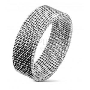 Oceľový prsteň striebornej farby s vypletaným sieťovaným vzorom, 8 mm
