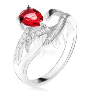 Lesklý prsteň zo striebra 925, červený kameň v tvare slzy, zvlnené zirkónové línie