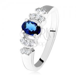 Lesklý prsteň - striebro 925, tmavomodrý oválny zirkón, číre kamienky