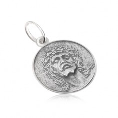 8bfc24556 Šperky eshop - Okrúhly medailón s tvárou Ježiša, matný, patinovaný, zo  striebra 925