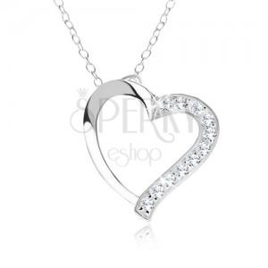 Nastaviteľný náhrdelník - striebro 925, retiazka, obrys srdca, číre zirkóniky