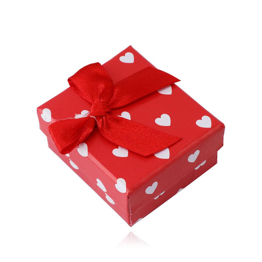 Červená darčeková krabička na náušnice - biele srdiečka, červená mašlička