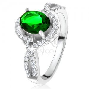 Prsteň - striebro 925, zaoblené línie, číre zirkóniky, oválny zelený kameň