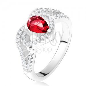 Prsteň s rubínovým zirkónom a čírou kontúrou srdca, striebro 925
