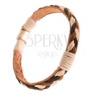 Náramok zo svetlohnedej kože a pletených šnúrok troch farieb