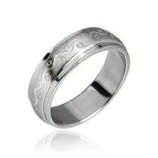 Oceľový prsteň vzor vlnka s bodkami