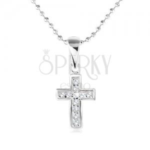 Náhrdelník - guličková retiazka, kríž s čírymi zirkónmi, striebro 925