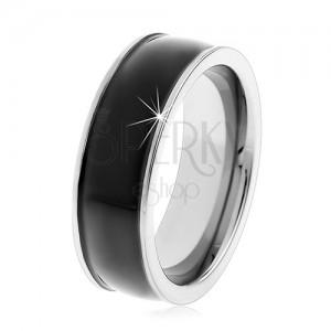 Čierny tungstenový hladký prsteň, jemne vypuklý, lesklý povrch, úzke okraje