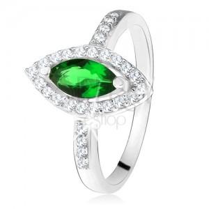 Lesklý prsteň - striebro 925, zrnkový zelený kameň s lemom, číre zirkóniky