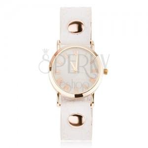 Náramkové analógové hodinky s lesklým bielym remienkom, ciferník zlatej farby