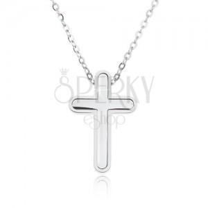 Oceľový náhrdelník, retiazka s malými očkami, prívesok kríža