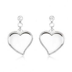 Šperky eshop - Oceľové náušnice - asymetrické srdcia so zdobeným okrajom, číre kamienky S71.06