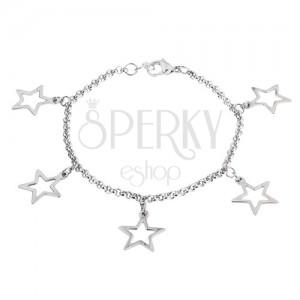 Retiazka na ruku z chirurgickej ocele s príveskami obrysov hviezd