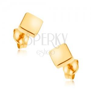 Puzetové náušnice v žltom 9K zlate - ligotavé štvorce, hladký povrch