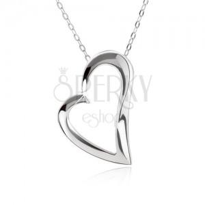 Strieborný 925 náhrdelník, nastaviteľný, retiazka a kontúra asymetrického srdca