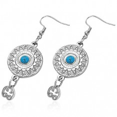 64f9b9acc Šperky eshop - Náušnice z chirurgickej ocele, etnický vzor s modrým kameňom  AA02.27