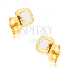 Ródiované náušnice z 9K zlata - mierne vypuklé dvojfarebné štvorce
