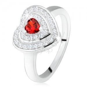 Prsteň s červeným zirkónovým srdiečkom, číre zirkóny - obrysy sŕdc, striebro 925
