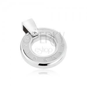 Oceľový prívesok - plochý hodinkový ciferník, rímske číslice, kruhový otvor