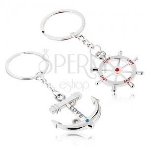 """Prívesky na kľúče pre dvojicu - kotva a kormidlo s nápisom """"LOVE"""""""