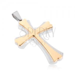 Oceľový prívesok - kríž striebornej farby a menší kríž zlatej farby, grécky kľúč