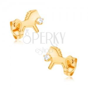 Náušnice zo žltého 9K zlata - ligotavý cválajúci koník s čírym zirkónom