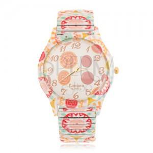 Oceľové náramkové hodinky, rôznofarebné kruhy, rozťahovací remienok