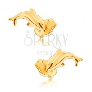 Náušnice v žltom 9K zlate - lesklé skákajúce delfíny