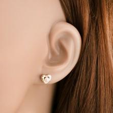Ródiované náušnice z 9K zlata - dvojfarebná kontúra srdca, biela perla