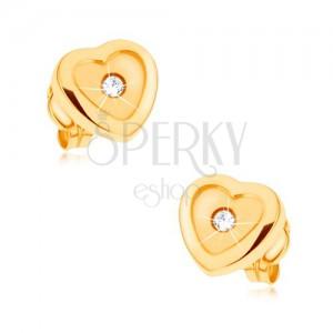 Náušnice v žltom 9K zlate, srdce, lesklá kontúra, matný stred, zirkón