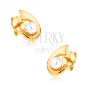 Zlaté puzetové náušnice 375 - ligotavý háčik, zaoblený povrch, perlička