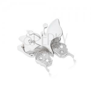 Prívesok z chirurgickej ocele - motýľ s výrezom srdiečka na krídlach, číre zirkóniky