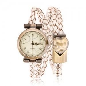 Náramkové hodinky, pletený remienok, ciferník a pracka matnej zlatej farby
