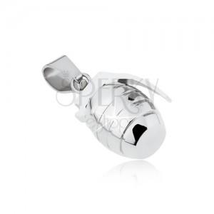 Prívesok z chirurgickej ocele, granát s gravírovaním striebornej farby