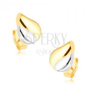 Ródiované dvojfarebné náušnice v 9K zlate - slzička so zárezom