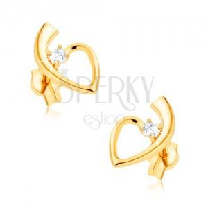 Zlaté náušnice 375, lesklá kontúra srdca so stopkou, okrúhly zirkón