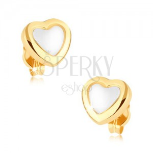 Ródiované náušnice v 9K zlate, srdce, lesklá žltá kontúra, biely stred