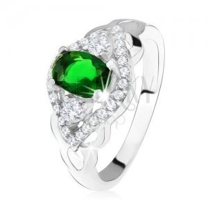 Strieborný prsteň 925, tmavozelený kameň, lem z čírych zirkónov, tvar oka