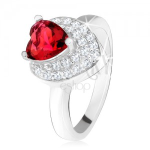 Prsteň s vystupujúcim srdiečkovým červeným zirkónom, dvojité srdce, striebro 925