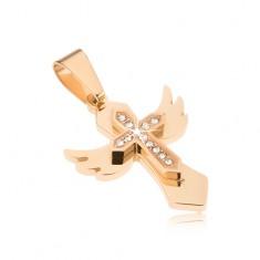 Oceľový prívesok - zlatá farba, kríž s krídlami, menší krížik so zirkónmi
