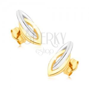 Zlaté ródiované náušnice 375 - prepojené dvojfarebné elipsy