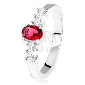 Strieborný zásnubný prsteň 925, oválny červený kamienok, číre zirkóny