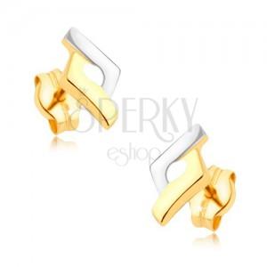 Ródiované dvojfarebné náušnice v 9K zlate - kosoštvorec, vystúpené okraje